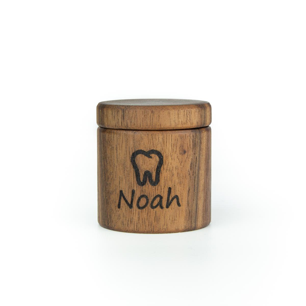 Zahndose für Milchzähne aus Nussbaum mit Gravur